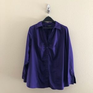 Size 18 Lane Bryant Purple Button Up Top